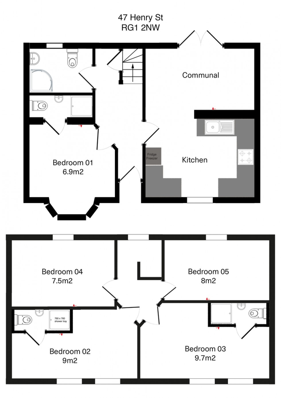 Floorplan for Henry Street, Reading